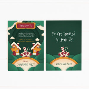 editable printable christmas village party invitation