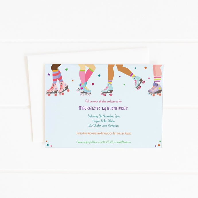 printable roller skating party invitation