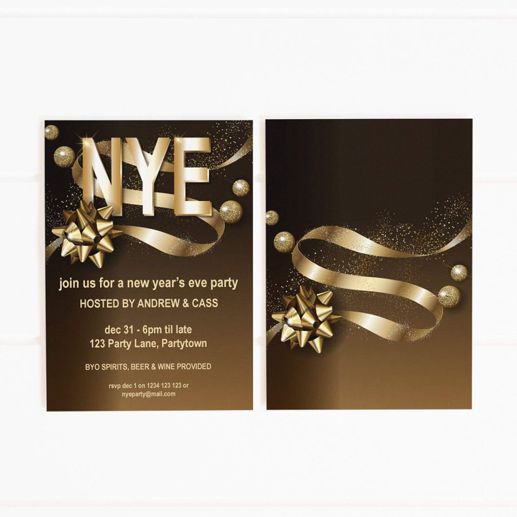 gold nye party invitation printable