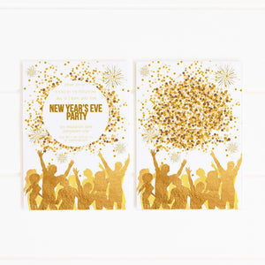white and gold nye party invitation printable
