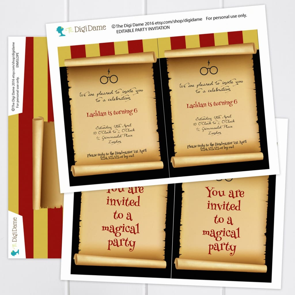 graphic relating to Harry Potter Invitations Printable named Wizard Magic College or university Occasion Invitation