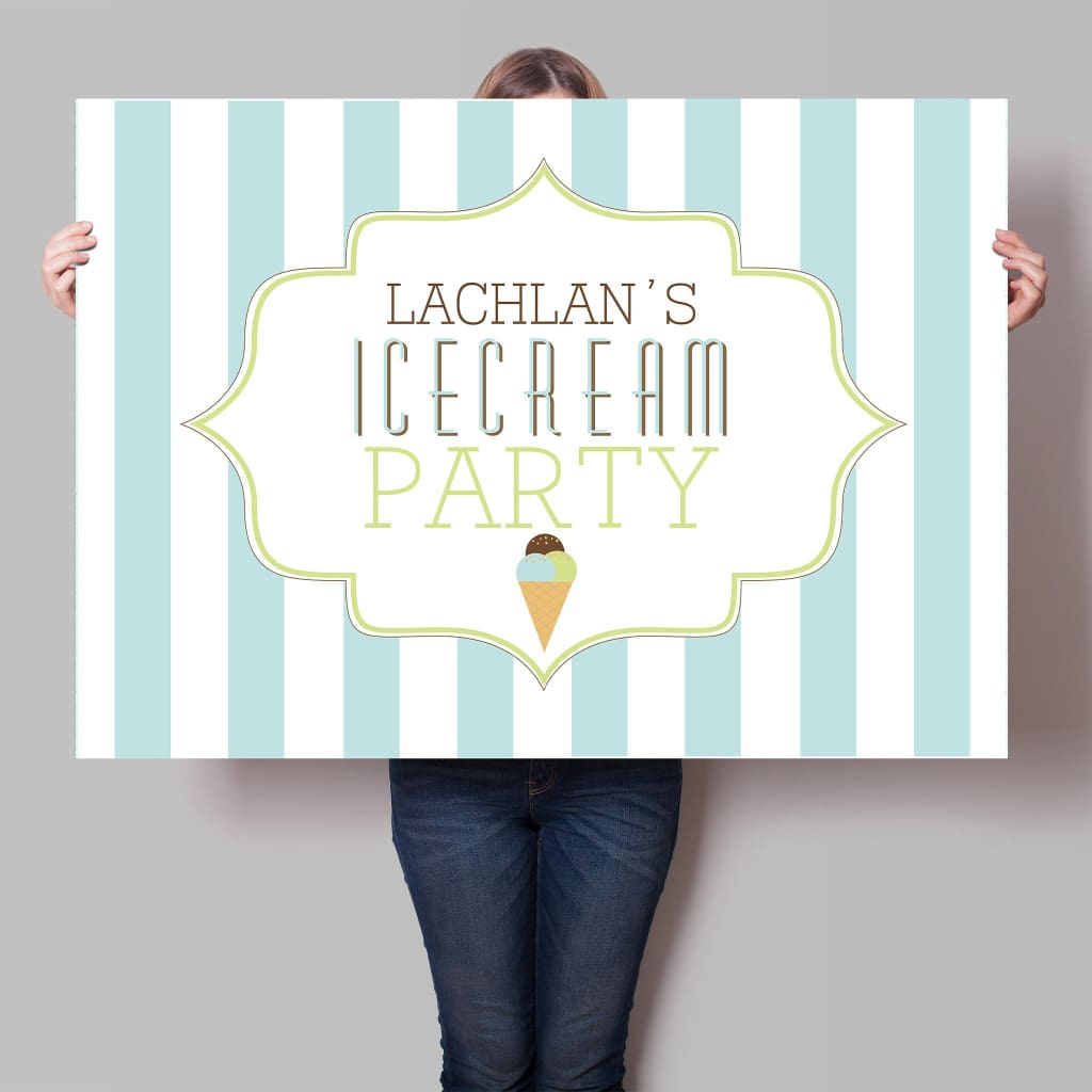 boy's ice cream party backdrop printable
