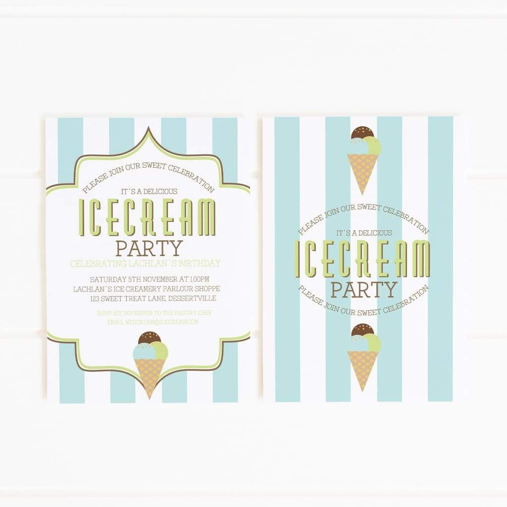 boy's ice cream party invitation