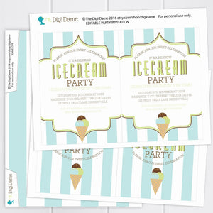 printable ice cream party invitation