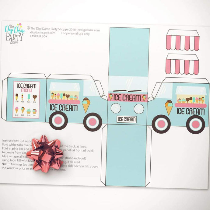 printable ice cream truck van favor box