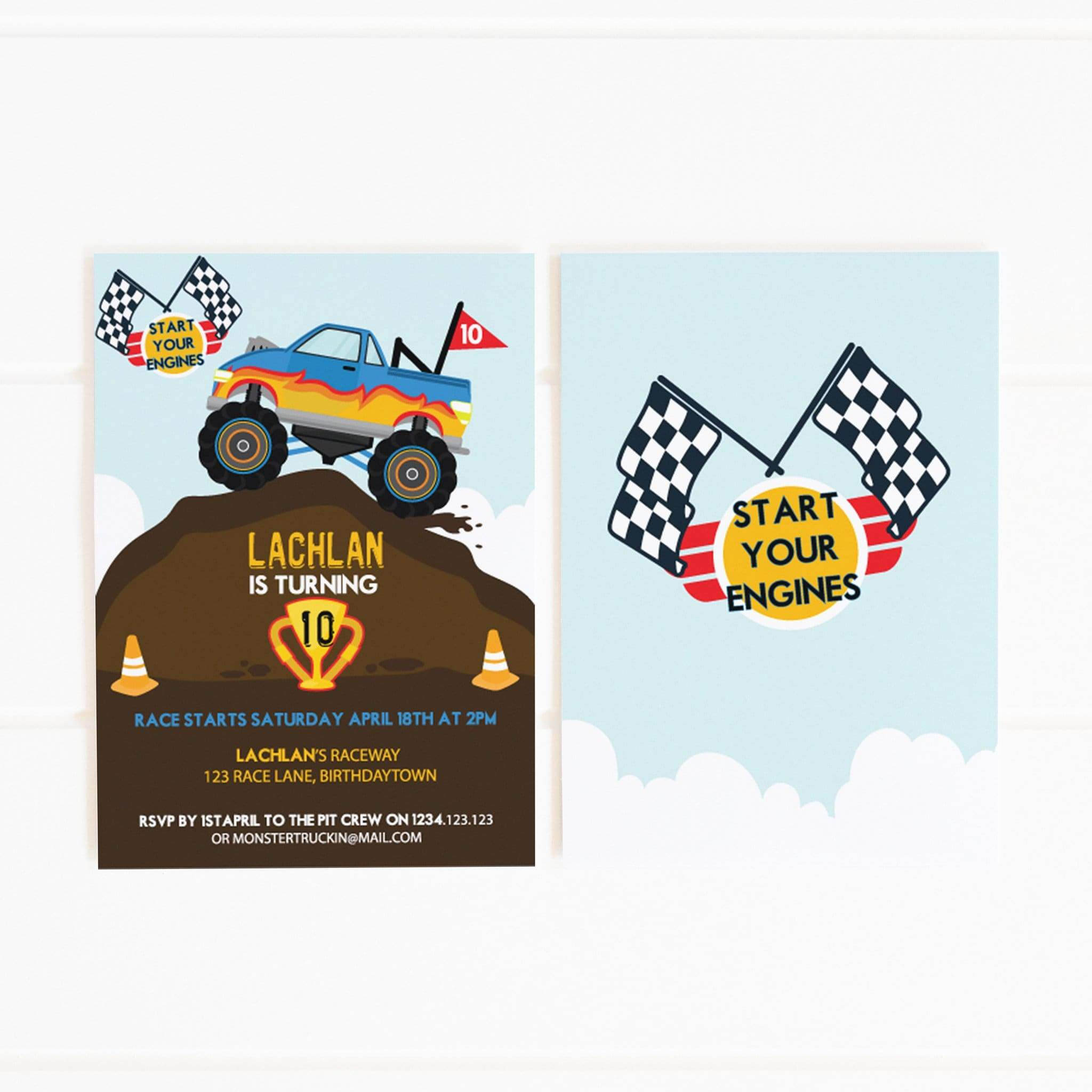 This is a graphic of Monster Truck Birthday Invitations Free Printable for pin the tail on