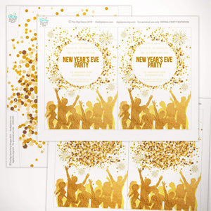 gold new year's eve party invitation template