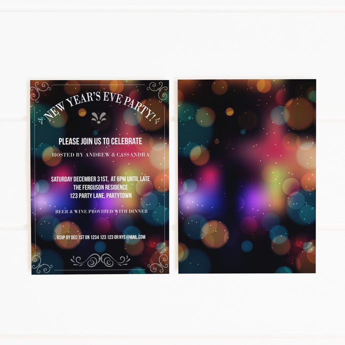 printable NYE party invitation