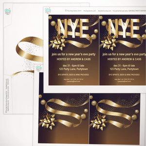 printable new year party invitation gold