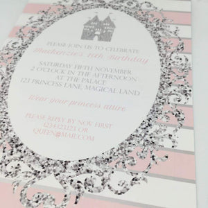pink silver and white princess party invitation