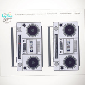 printable boombox party bunting