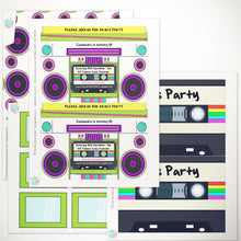 80's party boombox invitation template