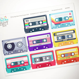 printable 80's party bunting