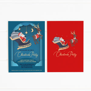 printable santa sleigh party invitation