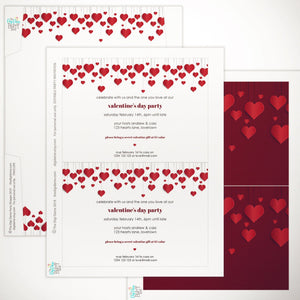 printable valentines party invitation red hearts