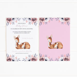 baby deer party invitation template