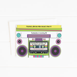 printable 80's boombox party invitation