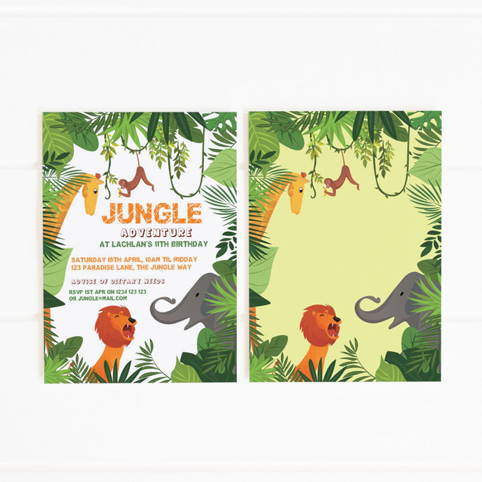 printable jungle party invitation template
