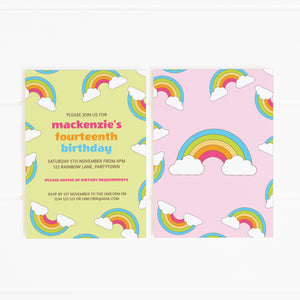 rainbows party invitation template