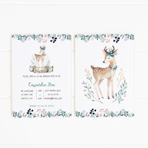 printable woodland deer party invitation