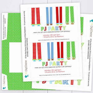 boy pyjama party invitation