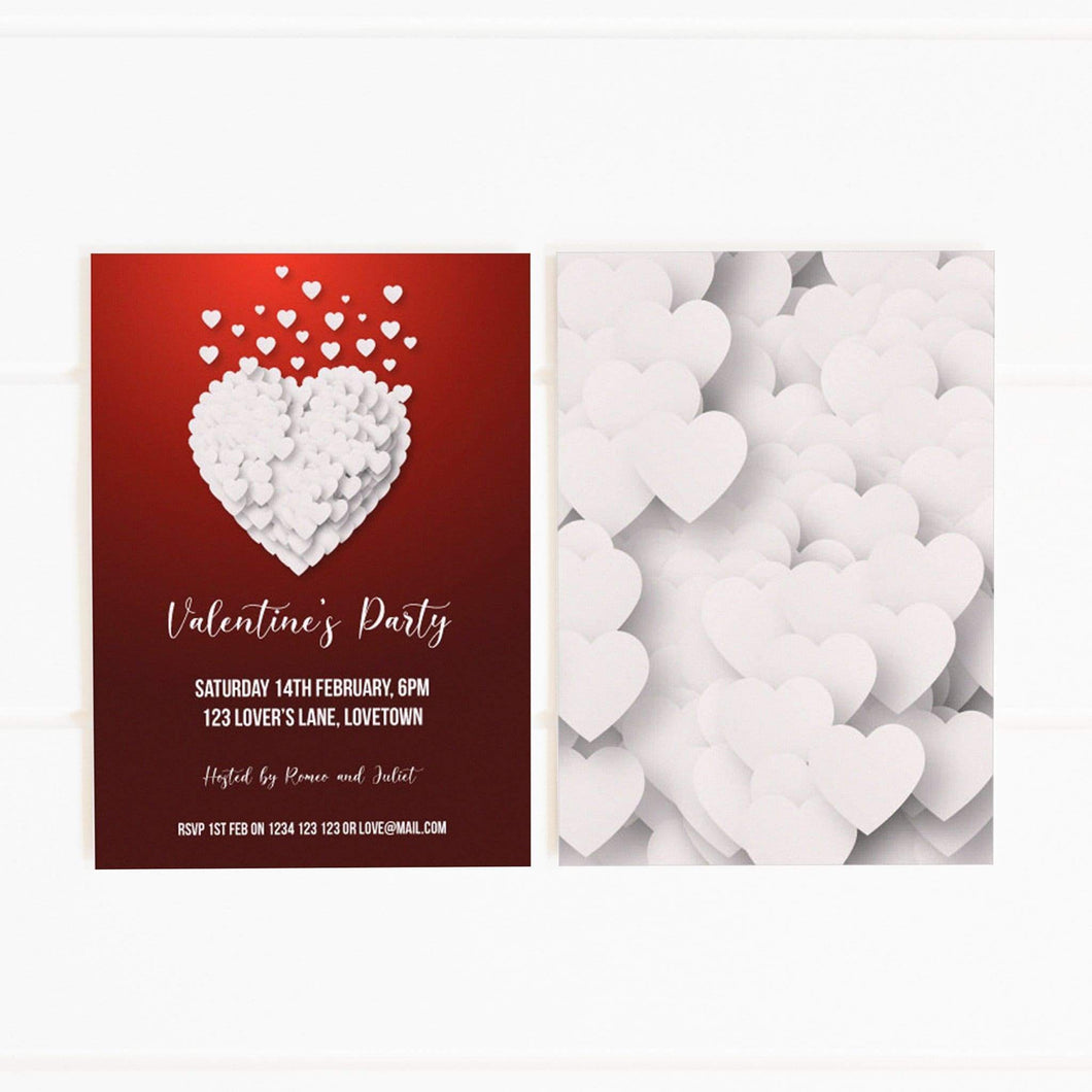 red and white hearts valentine's day party invitation