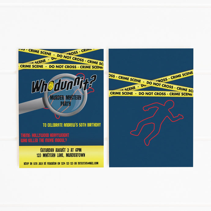 whodunnit mystery party invitation template