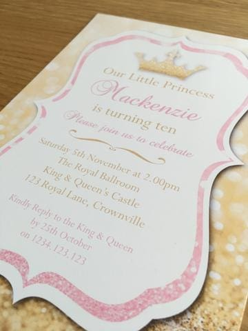 pink gold glitter princess party invitation