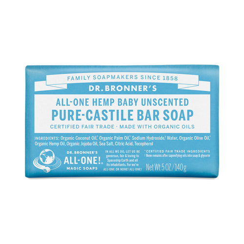 Dr Bonner's - Baby Unscented Castile Bar Soap 140g