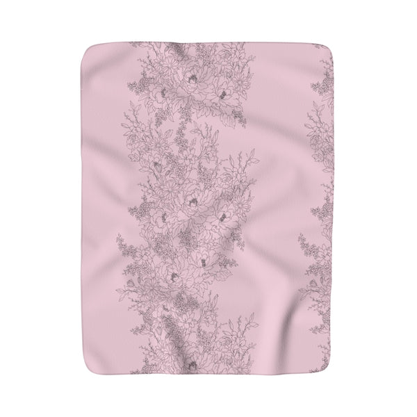 Precious Pink Flowers Sherpa Fleece Blanket