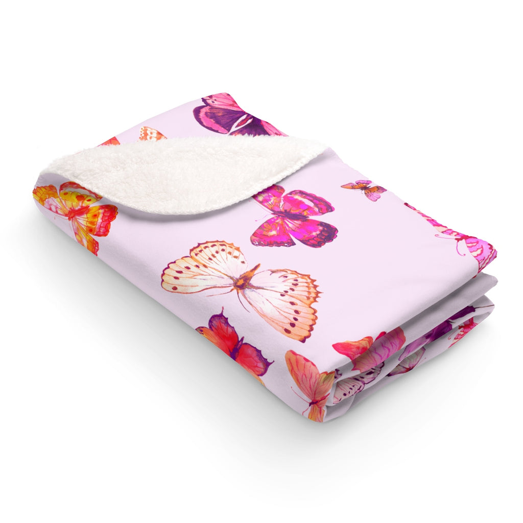 NEW GIRL PINK BUTTERFLIES + BLUSH SHERPA FLEECE BLANKET