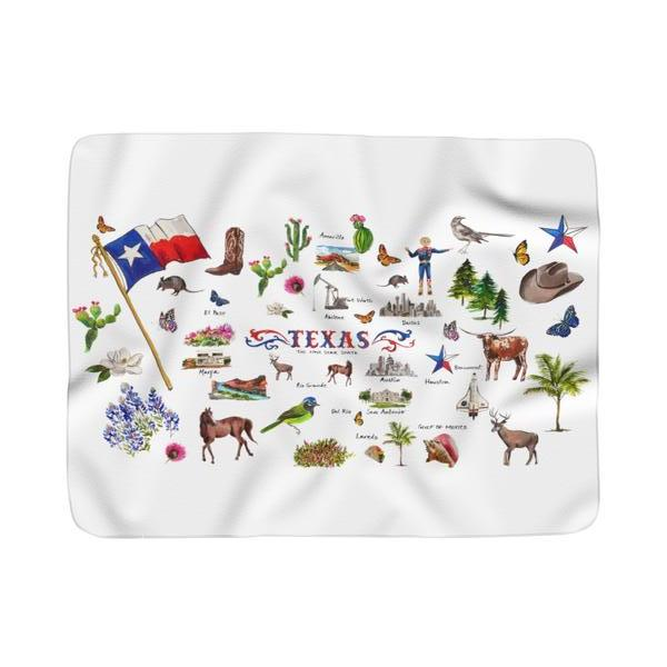 I Love Texas II Sherpa Fleece Blanket