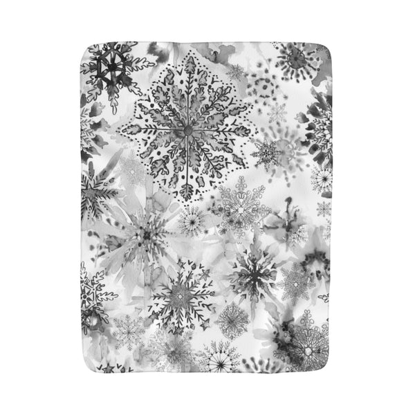 Watercolor Snowflakes Gray Fleece Sherpa Blanket
