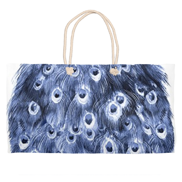 Navy Peacock Weekender Tote Bag