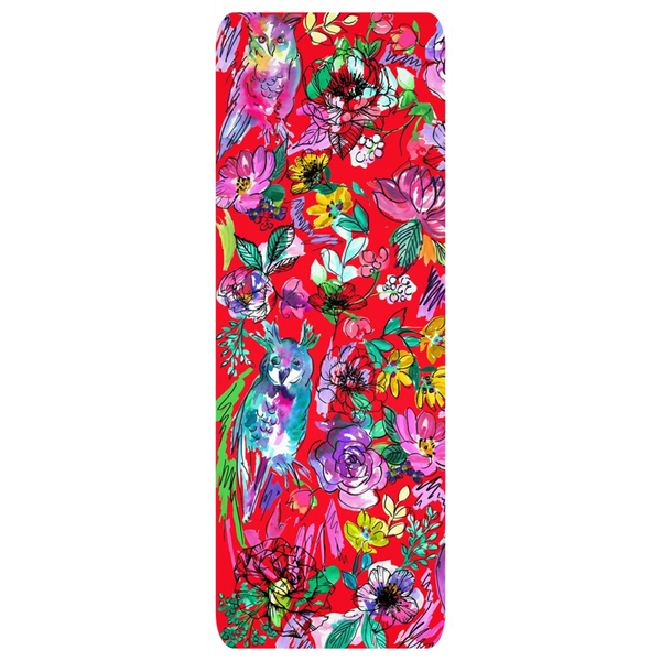 Chi Omega Owl Watercolor Red Yoga Mat