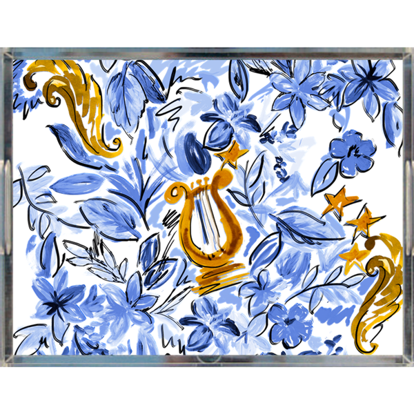 Blue + Gold Lyre Acrylic Tray