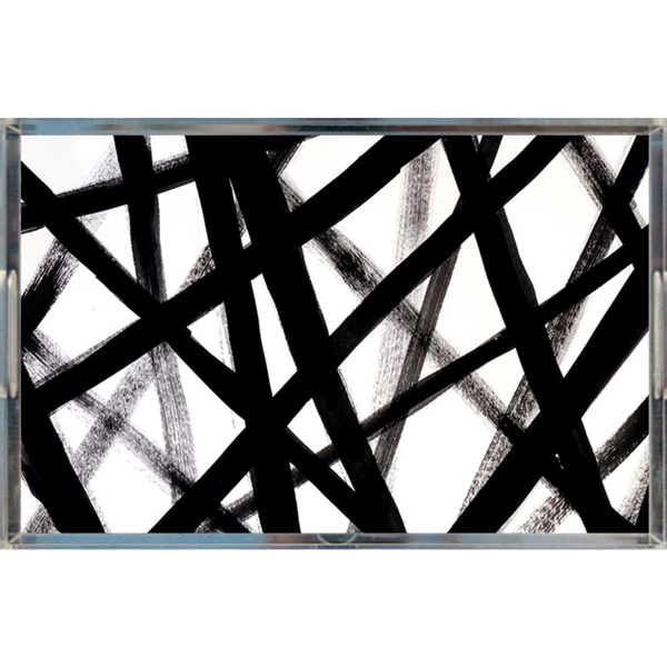 BLACK GRAFFITI LINES ACRYLIC TRAY