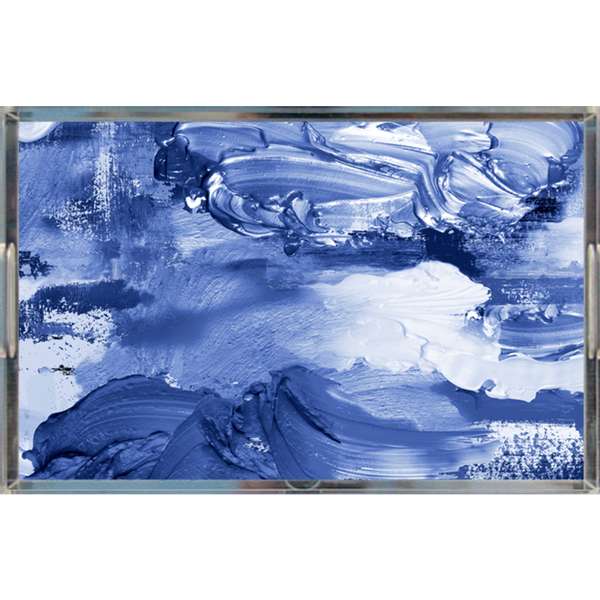 BLUE & WHITE PAINT DAUBS ACRYLIC TRAY