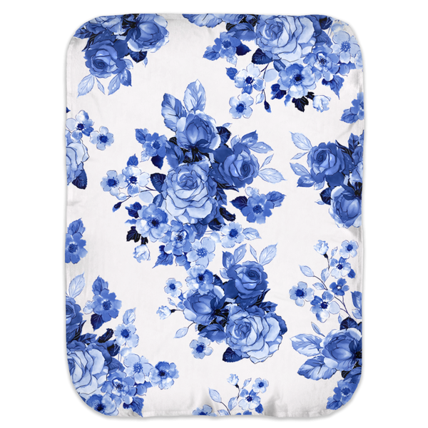 BLUE + WHITE GARDEN ROSES SWADDLE BLANKET