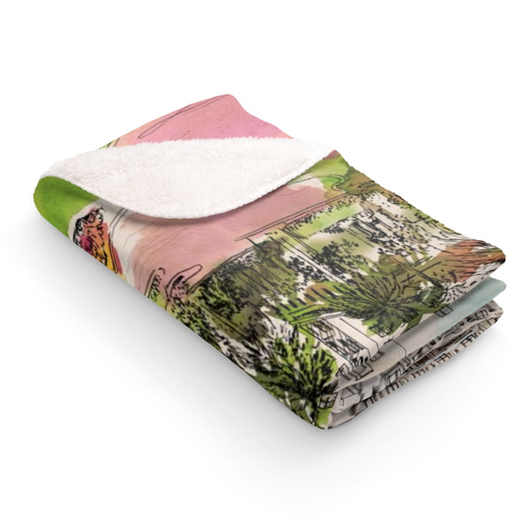Breakers Resort Watercolor Sherpa Fleece Blanket