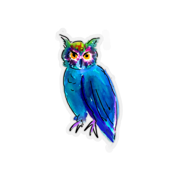 DARK BLUE & GREEN WATERCOLOR OWL REMOVABLE Sticker