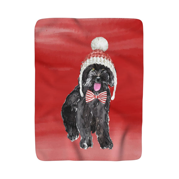 Christmas Morkie Fleece Sherpa Blanket