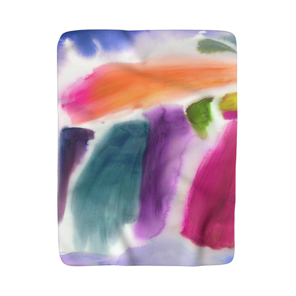 Abstract Paint Smears Sherpa Fleece Blanket