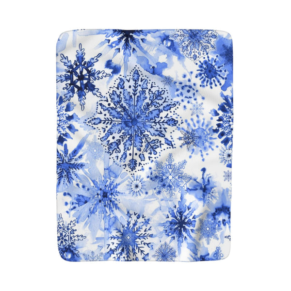 Watercolor Blue + White Snowflakes Fleece Sherpa Blanket