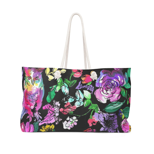 Chi O Owl Watercolor Black Weekender Tote