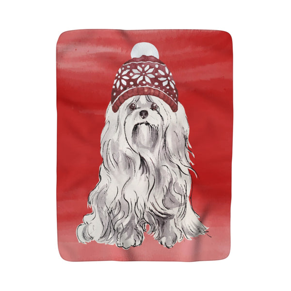 Christmas Hat Maltese Fleece Sherpa Blanket