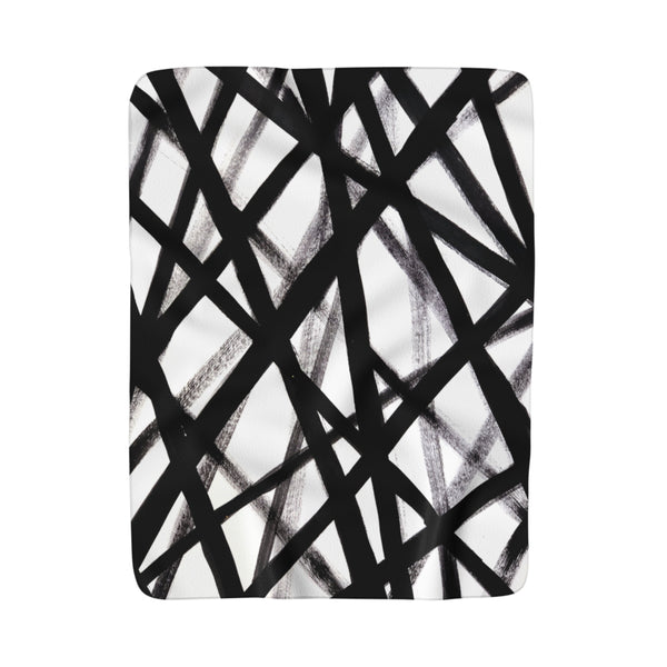 Black & White Graffiti Fleece Sherpa Blanket