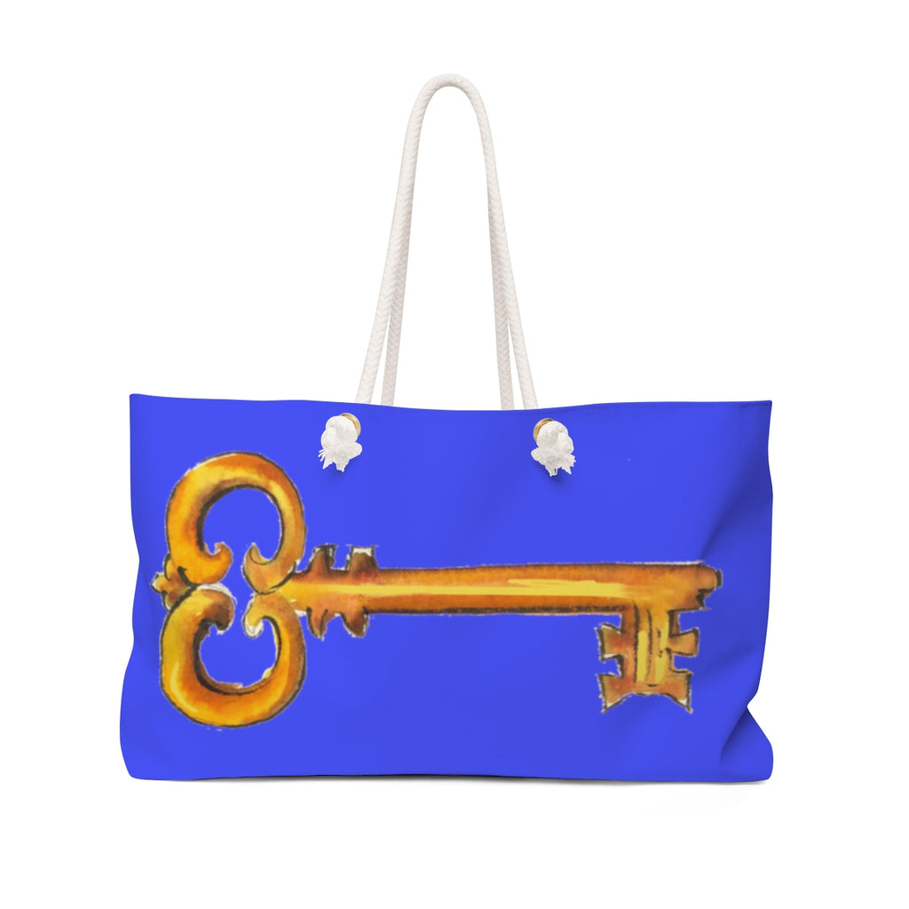 Golden Key Dark Blue Weekender Tote