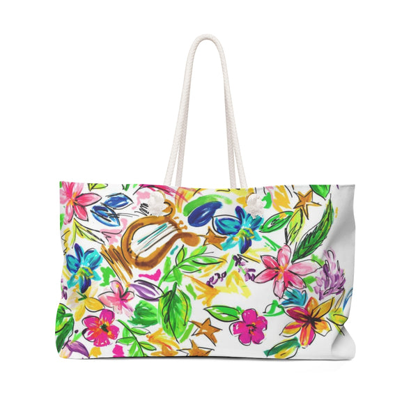 Watercolor Lyre Flowers Weekender Bag