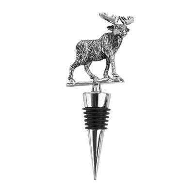 Rustic Holiday Woodland Moose Pewter Stopper